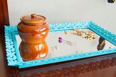 bohemian vanity tray | Turquoise VANITY MIRROR or TRAY Bohemian by JaydotCreative