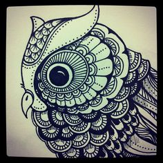 love this owl. from johanna basford . Doodles Zentangles, Zentangle Drawings, Zentangle Patterns, Doodle Drawings, Owl Patterns, Owl Doodle, Doodle Art, Tangle Doodle, Owl Art