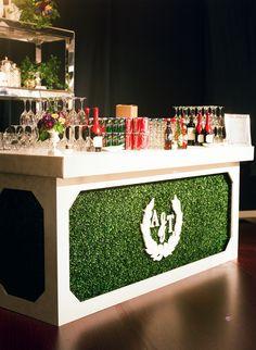 #Custom #designed bar. #boxwood #monogram #wedding #oneofakind @theknot