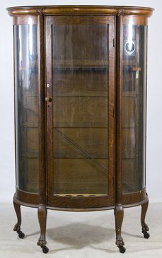 Beau Lot 128: Oak Curved Glass China Cabinet; Having Been Converted To Nine  Station Rifle