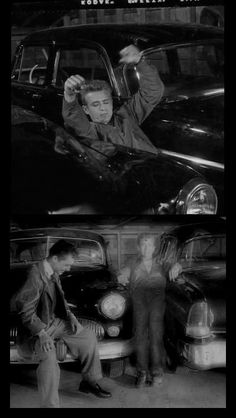 """""""James Dean apparently exercising between two cars. The photocopy catches Jimmy and Sal Mineo relaxed and smiling between scenes by the car. Old Hollywood Actors, Golden Age Of Hollywood, James Dean Life, Male Movie Stars, James Dean Photos, Rebel Without A Cause, East Of Eden, Film Institute, Best Actor"""