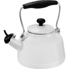 Chantal Enamel on Steel Vintage White 1.7-quart Teakettle ($50) ❤ liked on Polyvore featuring home, kitchen & dining, cookware, white, white enamel tea kettle, enameled steel cookware, chantal tea kettle, vintage enamel kettle and whistling kettle