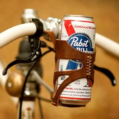 fixie bike leather can holder