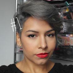 Silver Grey #Hair silver hair dark short pixie cuts