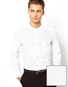 Image 1 ofASOS Smart Shirt In Long Sleeve With Grandad Collar In Soft Handle Cotton