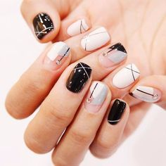 """If you're unfamiliar with nail trends and you hear the words """"coffin nails,"""" what comes to mind? It's not nails with coffins drawn on them. It's long nails with a square tip, and the look has. Gorgeous Nails, Love Nails, Fun Nails, Pretty Nails, Korean Nail Art, Korean Nails, Short Nail Designs, Nail Art Designs, Geometric Nail Art"""