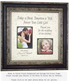 Parents Thank You Gift Mother Of The Bride by PhotoFrameOriginals