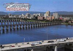 PCPA415 Set 50 X Postcards 4X6 Harrisburg PA Bridges Cars