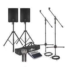 """SubZero 700W 12""""  Active PA System with Mics and Stands by Gear4music is the ultimate compact and portable PA pack, which can achieve amazing sound whatever the environment. This system with its small footprint is perfect for situations where a small system is required, which can be moved and set up quickly, but can guarantee you a great sound, and offers you great versatility in sculpting this sound with the inclusion of the SubZero SZ-MIX08USB 8-Channel Mini Mixer with USB."""