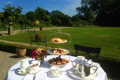 Afternoon Tea Outside in Marlfield House Dream Hotel, Blue Books, Al Fresco Dining, Afternoon Tea, Beautiful Gardens, Bliss, Ireland, Romantic, Table Decorations