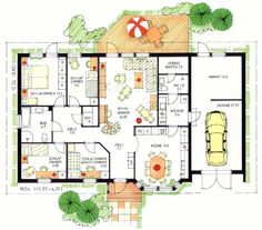 Holzhaus bungalow grundriss  Fertighaus Bungalows & Winkelbungalows Hausansicht: Grundriss 1 ...