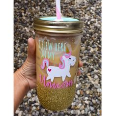 I Flew Here On My Unicorn Glitter Tumbler by TwinkleTwinkleLilJar