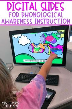 Digital phonological awareness slides to use in your PreK, K, or 1st grade classroom or through a video conferencing platform for distance learning.