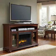 Electric Fireplace Media Center TV Stand Vent Free LED Timer Remote Control New   eBay