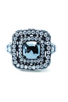 Rosendorff Essentials Collection Black and White Diamond Cocktail Ring