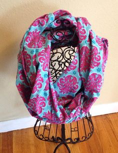 Pink and blue cotton infinity scarf  on Etsy, $15.00