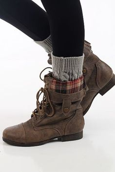 Mary Combat Boots, Cognac