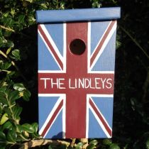 The Union Jack Bird Box - Personalise with chosen word! Free UK Delivery £42