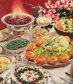 "This special dinner is brought to you by my friends at the General Foods Kitchens Cookbook circa Officially it's called the ""Elegant Holiday Buffet for Twelve"", and includes a Decorated Baked Ham, Cherries Jubilee and Beef Stroganoff. Gross Food, Weird Food, Bad Food, Scary Food, Retro Recipes, Vintage Recipes, Vintage Cooking, Vintage Food, Vintage Kitchen"
