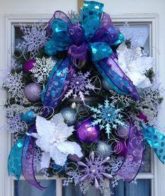 Frozen Christmas Wreath Holiday Wreath by petalpusherswreaths