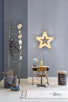 BN Wallcoverings #behang Denim: voor een stoere #jongenskamer. #jeansstof #blauw