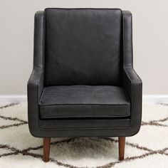 Moss Oxford Leather Black Accent Chair (Overstock.com) (full Italian leather; poplar and pine frame; mahogany finish)