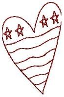 American Heart Redwork - 4x4 | Primitive | Machine Embroidery Designs | SWAKembroidery.com HeartStrings Embroidery