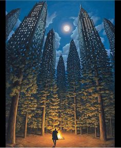 "Great work!  Repost from @outofstepbooks! The optical illusion treasures that #robgonsalves creates are so inspiring! We love this incredible piece entitled ""The Arboreal Office."" Rob doesn't have an IG account but you can find him on FB...and be prepared to be mesmerized by the surrealistic beauties he produces! Viva la Creativity! by art_collective"