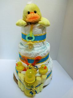 Rubber ducky diaper cake, baby shower gift, duck baby shower, new mother gift, hospital gift