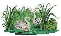 Swans antique cross stitch pattern von Smilylana auf Etsy