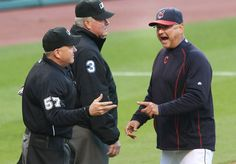 Manager Terry Francona makes his point with home plate umpire Mike Everitt after Jason Kipnis was hit with a pitch. Go Tito! Go Tribe!