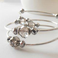 Gray Wedding Jewelry Crystal Bracelet Beaded by FiveLittleGems