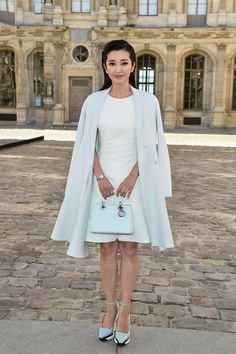 Chinese actress and singer Li Bing Bing looked ladylike in pastels at Christian Dior.