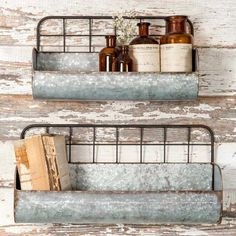 "Pre-Order  Set of 2 Galvanized Metal Wire Back Wall Planters  This item is schedule to arrive around 1/24/17 . Pre order Now!  Large: 18½"" x 6"" x 9"". Small: 15"""