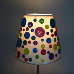 Button lampshade I made for my girls lalaloopsy room