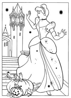 15 Most Favorite Disney Halloween Coloring Pages for Preschool - Coloring Pages Cinderella Coloring Pages, Cinderella Art, Disney Princess Coloring Pages, Disney Princess Colors, Disney Colors, Free Kids Coloring Pages, Preschool Coloring Pages, Coloring Book Pages, Printable Coloring Pages