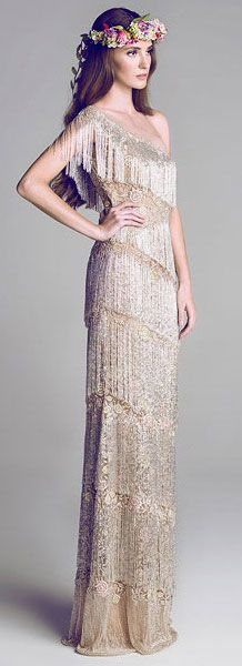 Retro Vintage Lace & Beaded Gown by Al-Fahim Evening gown, couture, evening dresses, formal and elegant
