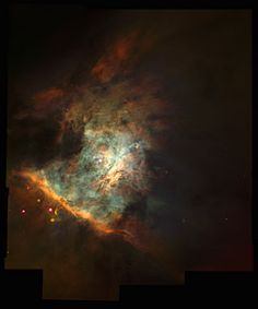 This spectacular colour panorama of the centre the Orion nebula is one of the largest pictures ever assembled from individual images taken with the Hubble Space Telescope. The picture, seamlessly composited from a mosaic of 15 separate fields, covers an area of sky about five percent the area covered by the full Moon.