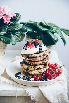 buckwheat poppy seed pancakes with blueberries, (gluten-free).