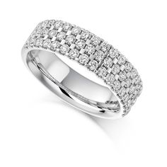 Treble row of beautiful round brilliant cut diamonds sparkles from the entire front half of a significant platinum band. See today! Vintage Diamond, Vintage Rings, Eternity Rings, Classic Beauty, Ring Designs, Diamond Cuts, Fine Jewelry, Wedding Rings, Engagement Rings