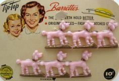 1950s pink poodle barrettes