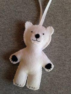 Items similar to Polar Bear Christmas Ornament on Etsy Felt Christmas Decorations, Felt Christmas Ornaments, Diy Christmas Gifts, Handmade Christmas, Christmas Christmas, Ornament Crafts, Diy Ornaments, Beaded Ornaments, Glass Ornaments