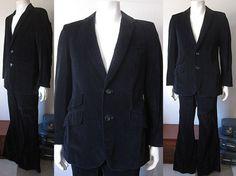 Vintage 70s Black Velvet Men's Two Piece Suit Size 40 by retrovous