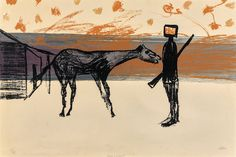 Sidney Nolan (Australian, Horse and Kelly. Screenprint on paper, 50 x 75 cm. Australian Painters, Australian Artists, American Prayer, Sidney Nolan, Collage Illustration, Landscape Paintings, Abstract Paintings, Figure Painting, Printmaking
