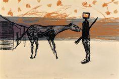 Sidney Nolan (Australian, 1917-1992), Horse and Kelly. Screenprint on paper, 50 x 75 cm. Number 25/75