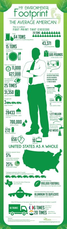 The Environmental Footprint Left by The Average American #infographic