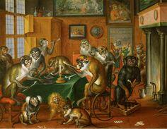 """""""Tobacco Collegium of the Apes"""" Abraham Teniers (Flemish 1629-1670)"""
