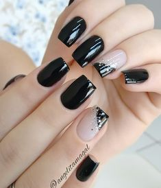 16 Ideas French Manicure Acrylic Nails Fun For 2019 Black Nail Designs, Nail Art Designs, Nails Design, Pedicure Designs, Stylish Nails, Trendy Nails, Chic Nails, Elegant Nails, New Year's Nails