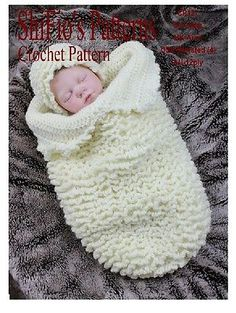 CROCHET PATTERN for BABY COCOON PAPOOSE & HAT #127 NOT CLOTHES