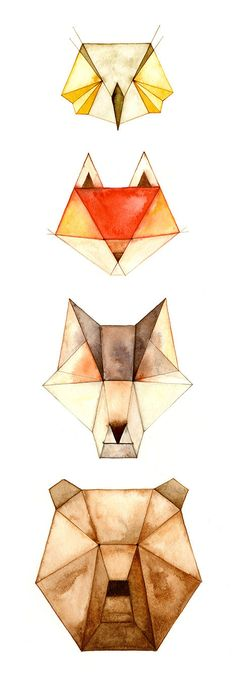 Practicing water colours! Geometric Animals Owl Fox Wolf Bear door CatherineLazarOdell